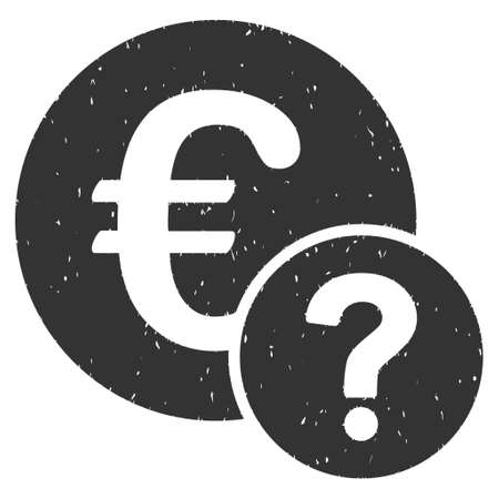 trading questions: Euro Status rubber seal stamp watermark. Icon glyph symbol with grunge design and dirty texture. Scratched gray ink emblem on a white background.