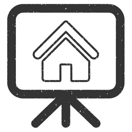 presentaion: House Project Presentation Screen rubber seal stamp watermark. Icon glyph symbol with grunge design and dirty texture. Scratched gray ink emblem on a white background. Stock Photo