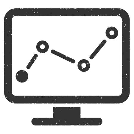 computer screen: Trend Monitoring rubber seal stamp watermark. Icon glyph symbol with grunge design and dirty texture. Scratched gray ink emblem on a white background.