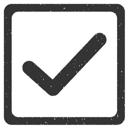 marked boxes: Checkbox rubber seal stamp watermark. Icon vector symbol with grunge design and unclean texture. Scratched gray ink sticker on a white background.