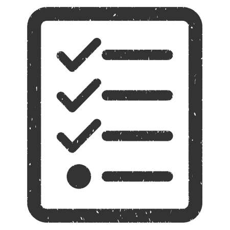 Checklist rubber seal stamp watermark. Icon vector symbol with grunge design and dust texture. Scratched gray ink sign on a white background. Illustration