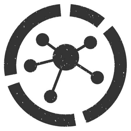 Connections Diagram rubber seal stamp watermark. Icon vector symbol with grunge design and dirty texture. Scratched gray ink sign on a white background.
