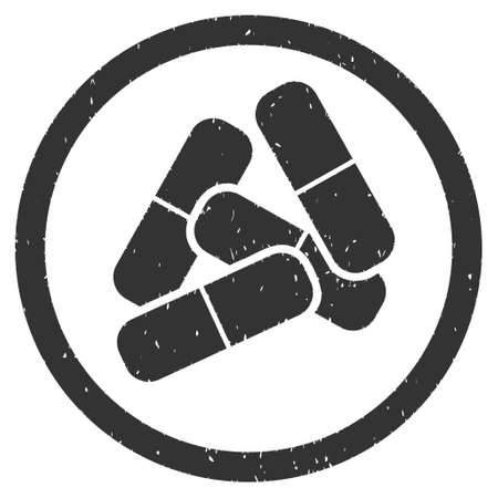 Drugs rubber seal stamp watermark. Icon vector symbol with grunge design and dust texture. Scratched gray ink sticker on a white background.