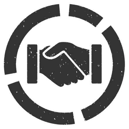 Handshake Diagram Rubber Seal Stamp Watermark Icon Vector Symbol