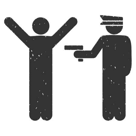 police arrest: Police Arrest rubber seal stamp watermark. Icon vector symbol with grunge design and dust texture. Scratched gray ink sign on a white background.