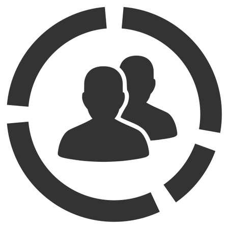 demografia: Demografía Diagrama del icono del vector. símbolo gris plana. Pictograma está aislado en un fondo blanco. Diseñado para interfaces web y software. Vectores