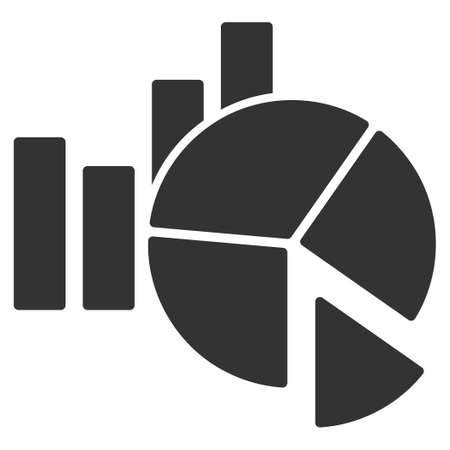 Statistics vector icon. Flat gray symbol. Pictogram is isolated on a white background. Designed for web and software interfaces.