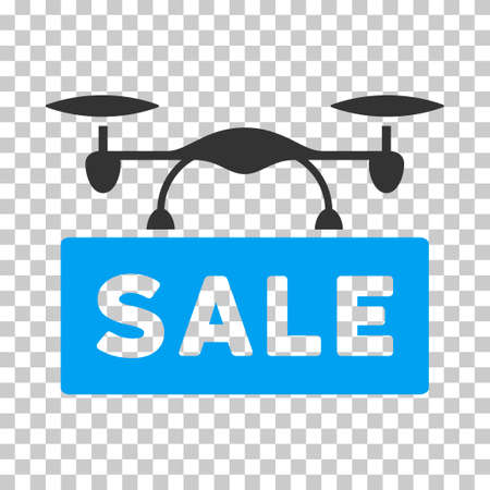 airflight: Airdrone Sale EPS vector pictogram. Illustration style is flat iconic bicolor blue and gray symbol on chess transparent background. Illustration