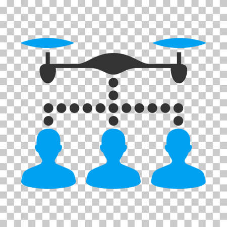 Drone Clients Connection EPS vector icon. Illustration style is flat iconic bicolor blue and gray symbol on chess transparent background.