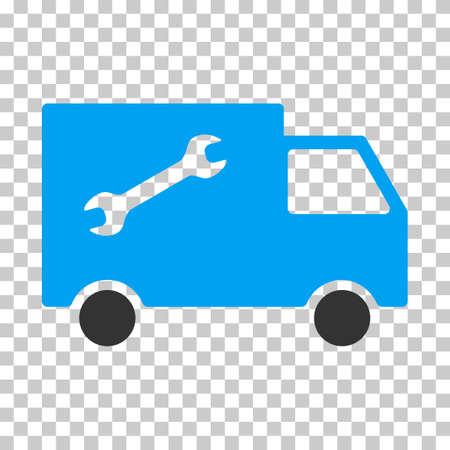 eps vector icon: Repair Van EPS vector icon. Illustration style is flat iconic bicolor blue and gray symbol on chess transparent background. Illustration
