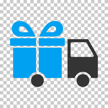 delivery icon: Gift Delivery Van EPS vector icon. Illustration style is flat iconic bicolor blue and gray symbol on chess transparent background. Illustration