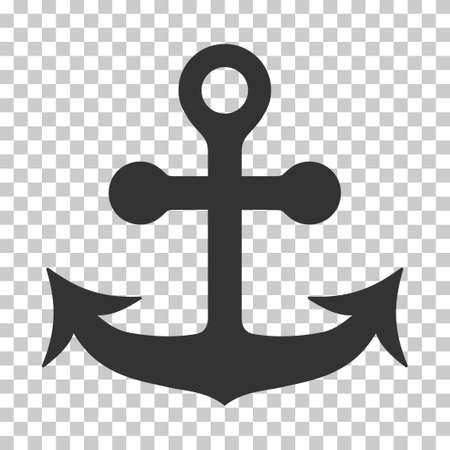 Anchor EPS vettore icona. illustrazione stile è piatta simbolo iconico grigio su sfondo trasparente scacchi.