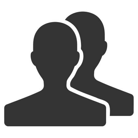 pictograph: Customers glyph icon. Flat gray symbol. Pictogram is isolated on a white background. Designed for web and software interfaces.