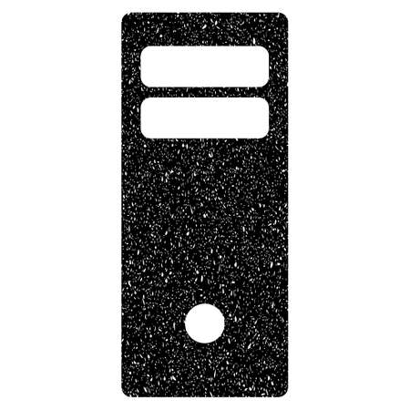 mainframe: Computer Mainframe grainy textured icon for overlay watermark stamps. Flat symbol with scratched texture. Dotted vector black ink rubber seal stamp with grunge design on a white background.