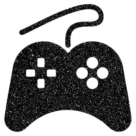 Gamepad grainy textured icon for overlay watermark stamps. Flat symbol with dust texture. Dotted vector black ink rubber seal stamp with grunge design on a white background.