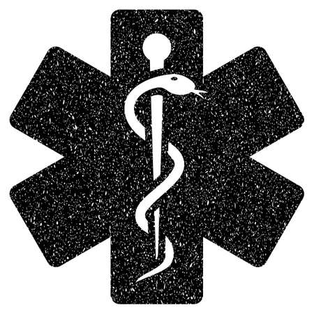 medical emblem: Medical Emblem grainy textured icon for overlay watermark stamps. Flat symbol with dust texture. Dotted vector black ink rubber seal stamp with grunge design on a white background. Illustration