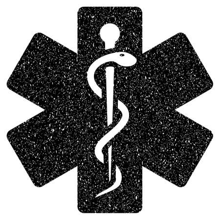 firstaid: Medical Life Star grainy textured icon for overlay watermark stamps. Flat symbol with scratched texture. Dotted vector black ink rubber seal stamp with grunge design on a white background. Illustration