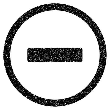 subtract: Remove grainy textured icon for overlay watermark stamps. Flat symbol with scratched texture. Dotted vector black ink rubber seal stamp with grunge design on a white background.