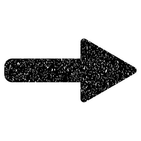 Right Arrow grainy textured icon for overlay watermark stamps. Flat symbol with dust texture. Dotted vector black ink rubber seal stamp with grunge design on a white background.