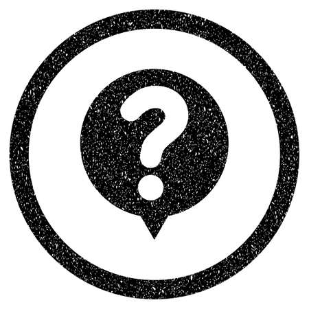status icon: Status grainy textured icon for overlay watermark stamps. Flat symbol with dust texture. Dotted vector black ink rubber seal stamp with grunge design on a white background.