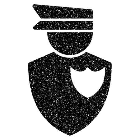 bobby: Policeman grainy textured icon for overlay watermark stamps. Flat symbol with dirty texture. Dotted vector black ink rubber seal stamp with grunge design on a white background.