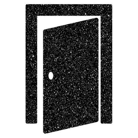 Log Out: Door grainy textured icon for overlay watermark stamps. Flat symbol with unclean texture. Dotted glyph black ink rubber seal stamp with grunge design on a white background. Stock Photo
