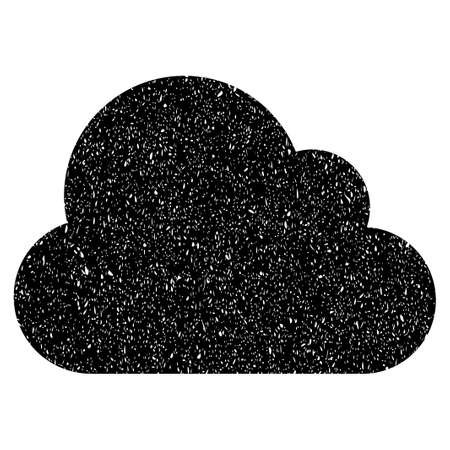 dust cloud: Cloud grainy textured icon for overlay watermark stamps. Flat symbol with dust texture. Dotted glyph black ink rubber seal stamp with grunge design on a white background.