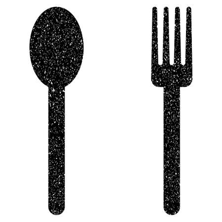grunge silverware: Fork and Spoon grainy textured icon for overlay watermark stamps. Flat symbol with unclean texture. Dotted glyph black ink rubber seal stamp with grunge design on a white background. Stock Photo
