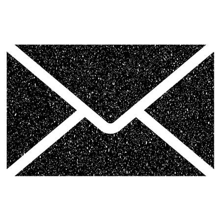 grungy email: Mail Envelope grainy textured icon for overlay watermark stamps. Flat symbol with scratched texture. Dotted glyph black ink rubber seal stamp with grunge design on a white background.