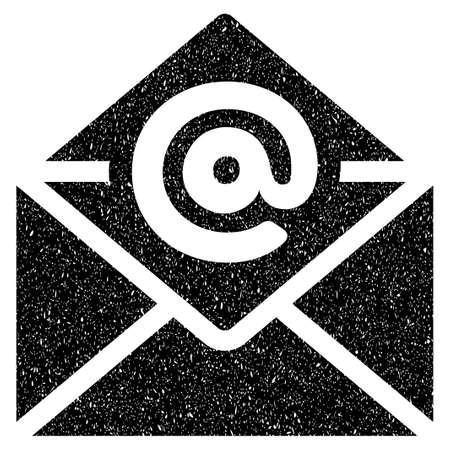 grungy email: Open Email grainy textured icon for overlay watermark stamps. Flat symbol with scratched texture. Dotted glyph black ink rubber seal stamp with grunge design on a white background.