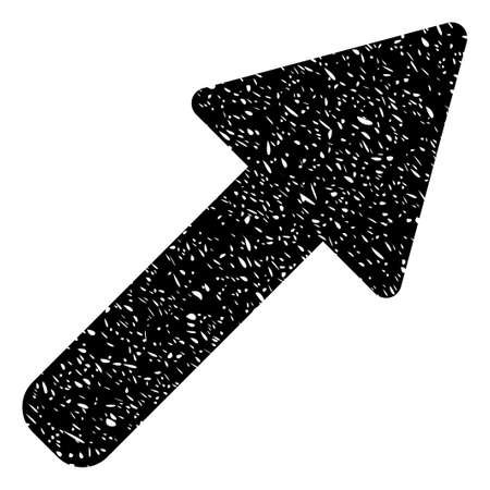 Right Up Arrow grainy textured icon for overlay watermark stamps. Flat symbol with dirty texture. Dotted glyph black ink rubber seal stamp with grunge design on a white background. Stock Photo
