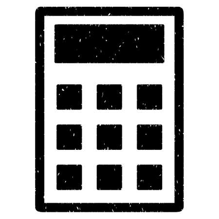 calc: Calculator grainy textured icon for overlay watermark stamps. Flat symbol with unclean texture. Dotted vector black ink rubber seal stamp with grunge design on a white background.
