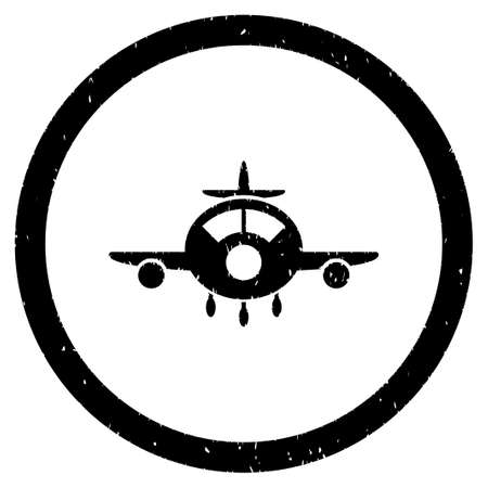 usaf: Aircraft grainy textured icon inside circle for overlay watermark stamps. Flat symbol with scratched texture.