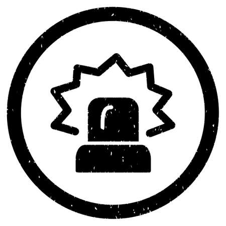 Alarm grainy textured icon inside circle for overlay watermark stamps. Flat symbol with dirty texture. Circled dotted vector black ink rubber seal stamp with grunge design on a white background.