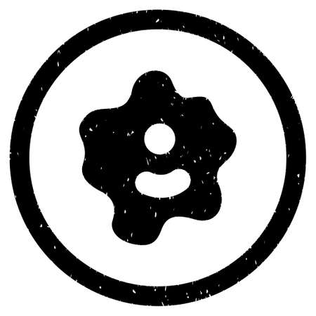 spore: Ameba grainy textured icon inside circle for overlay watermark stamps. Flat symbol with dirty texture. Circled dotted vector black ink rubber seal stamp with grunge design on a white background.