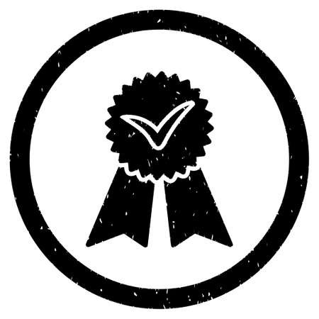 approvement: Approvement Seal grainy textured icon inside circle for overlay watermark stamps. Flat symbol with unclean texture.