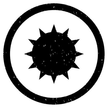 stirrer: Bacterium grainy textured icon inside circle for overlay watermark stamps. Flat symbol with scratched texture.