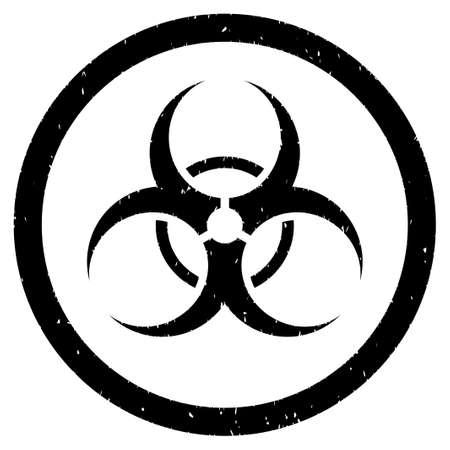 bio hazard: Bio Hazard grainy textured icon inside circle for overlay watermark stamps. Flat symbol with scratched texture. Illustration