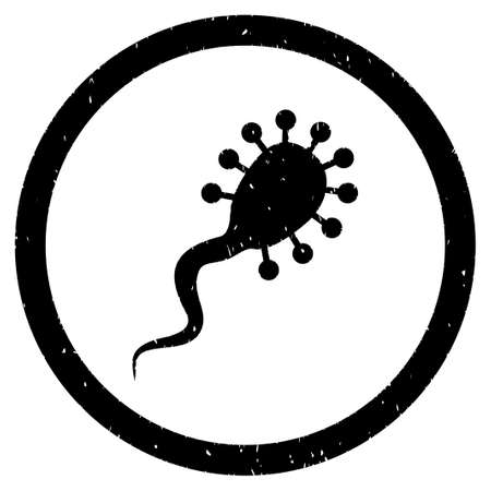 ameba: Bloodsucker grainy textured icon inside circle for overlay watermark stamps. Flat symbol with scratched texture.