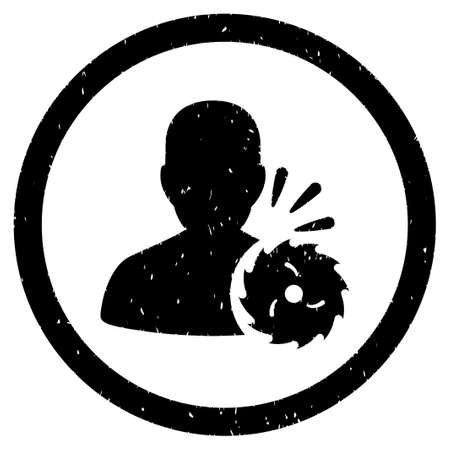 execution: Body Execution grainy textured icon inside circle for overlay watermark stamps. Flat symbol with dirty texture.
