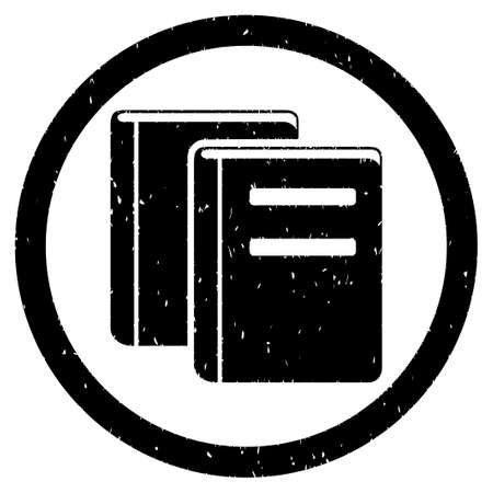 periodicals: Books grainy textured icon inside circle for overlay watermark stamps. Flat symbol with dust texture. Circled dotted vector black ink rubber seal stamp with grunge design on a white background.