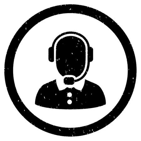 talker: Call Center Operator grainy textured icon inside circle for overlay watermark stamps. Flat symbol with unclean texture. Illustration