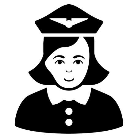 Airline Stewardess vector icon. Flat black symbol. Pictogram is isolated on a white background. Designed for web and software interfaces.