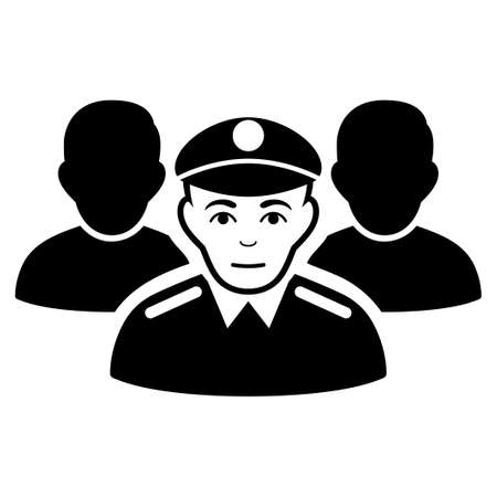 troop: Army Team vector icon. Flat black symbol. Pictogram is isolated on a white background. Designed for web and software interfaces. Illustration