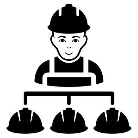 command structure: Builder Management vector icon. Flat black symbol. Pictogram is isolated on a white background. Designed for web and software interfaces. Illustration