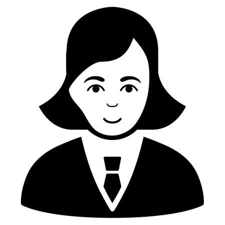 gender identity: Business Lady vector icon. Flat black symbol. Pictogram is isolated on a white background. Designed for web and software interfaces. Illustration