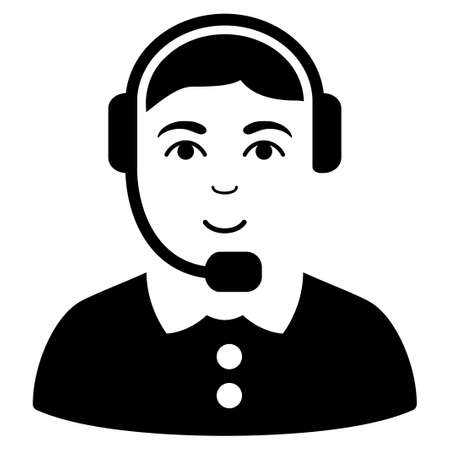 talker: Call Center Operator vector icon. Flat black symbol. Pictogram is isolated on a white background. Designed for web and software interfaces.