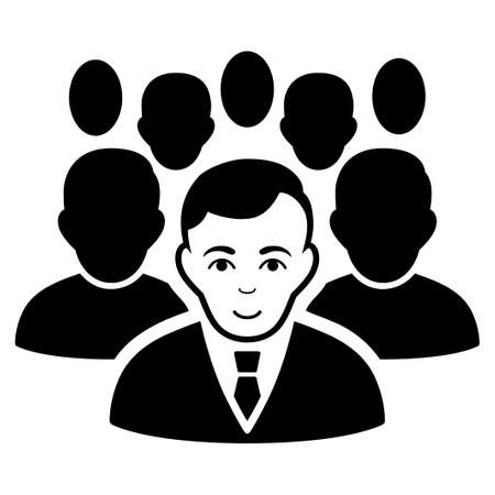 Crowd vector icon. Flat black symbol. Pictogram is isolated on a white background. Designed for web and software interfaces. Illustration