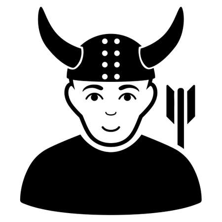 horned: Horned Warrior vector icon. Flat black symbol. Pictogram is isolated on a white background. Designed for web and software interfaces. Illustration