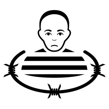 Isolated Prisoner vector icon. Flat black symbol. Pictogram is isolated on a white background. Designed for web and software interfaces.